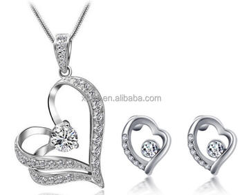 free shipping hot heart shape zircon necklace earring set in stock