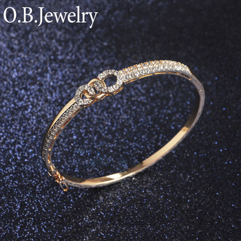 Competitive Price Two Gold Plated Fashion Ladies Pure Copper Bangle