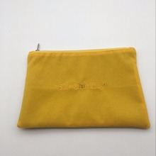 Soft Gold Embroidery Yellow Velvet Zipper Pouch With Satin Lining