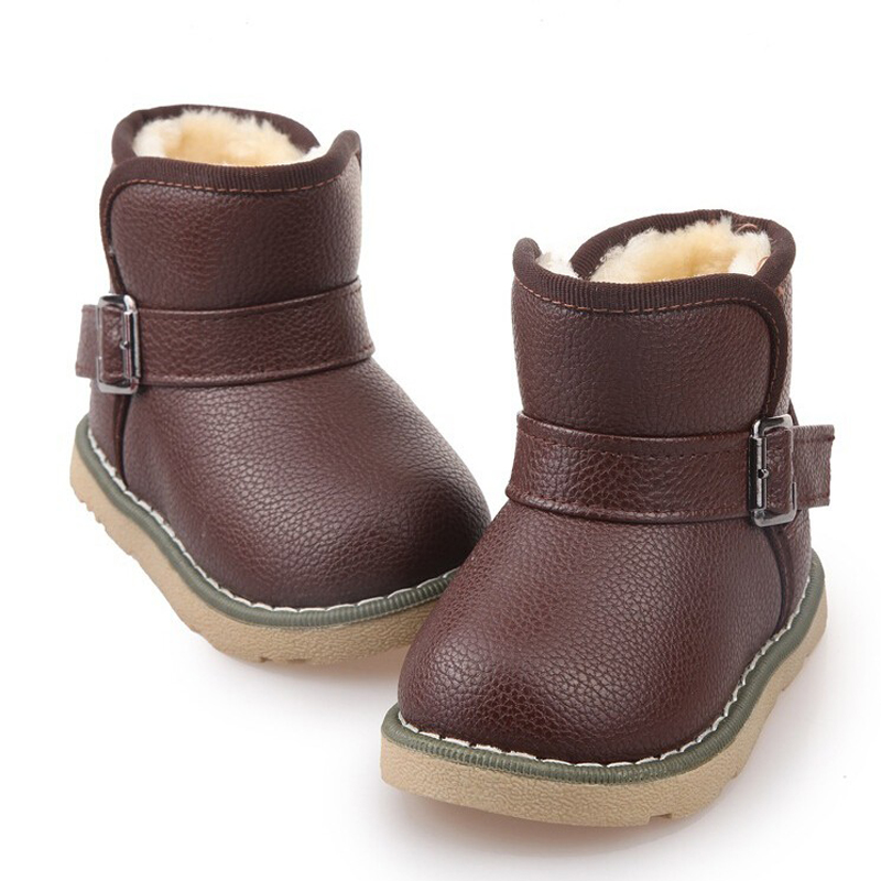 2015 Brand Children Leather Ankle Boots Kids Snow Boots
