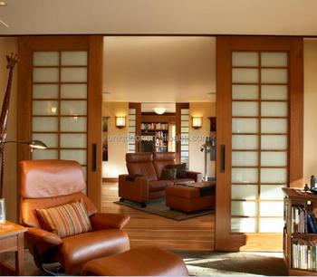 Traditional Asian Living Room Teak Wood Veneer Sliding Glass Door