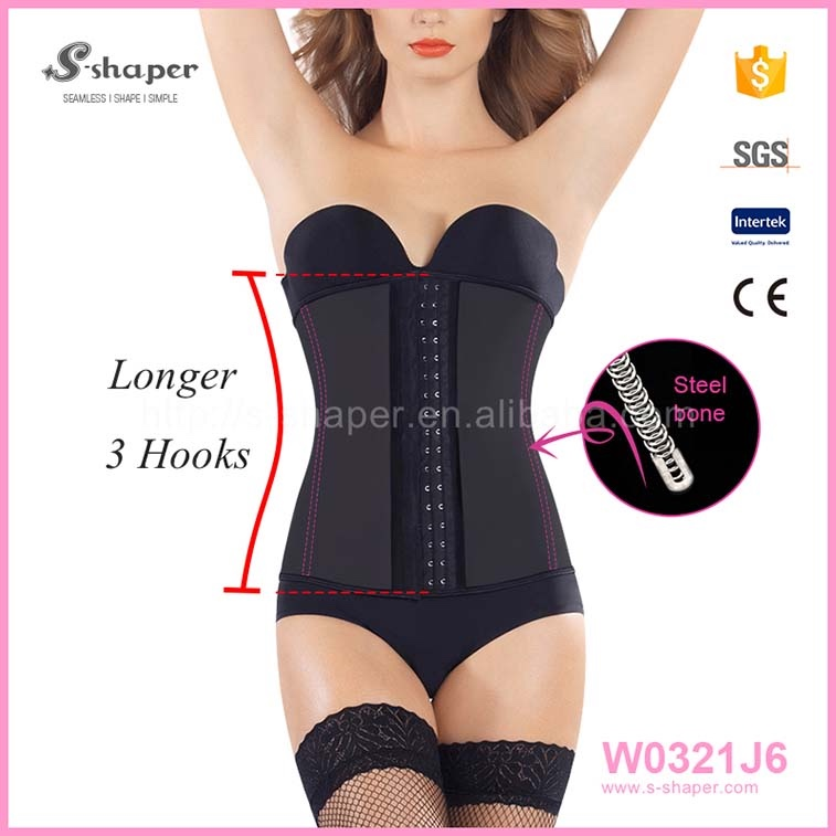 Women Steel Boned Plus Size Waist Training Corset Smooth Latex Slimming Body Shaper Underbust W0321J6