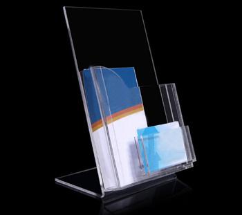 Desktop slanted clear acrylic brochure holder with business card desktop slanted clear acrylic brochure holder with business card pocket lucite sign rack colourmoves