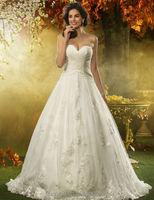 new high quality sleeveless ball gown wedding dress long train