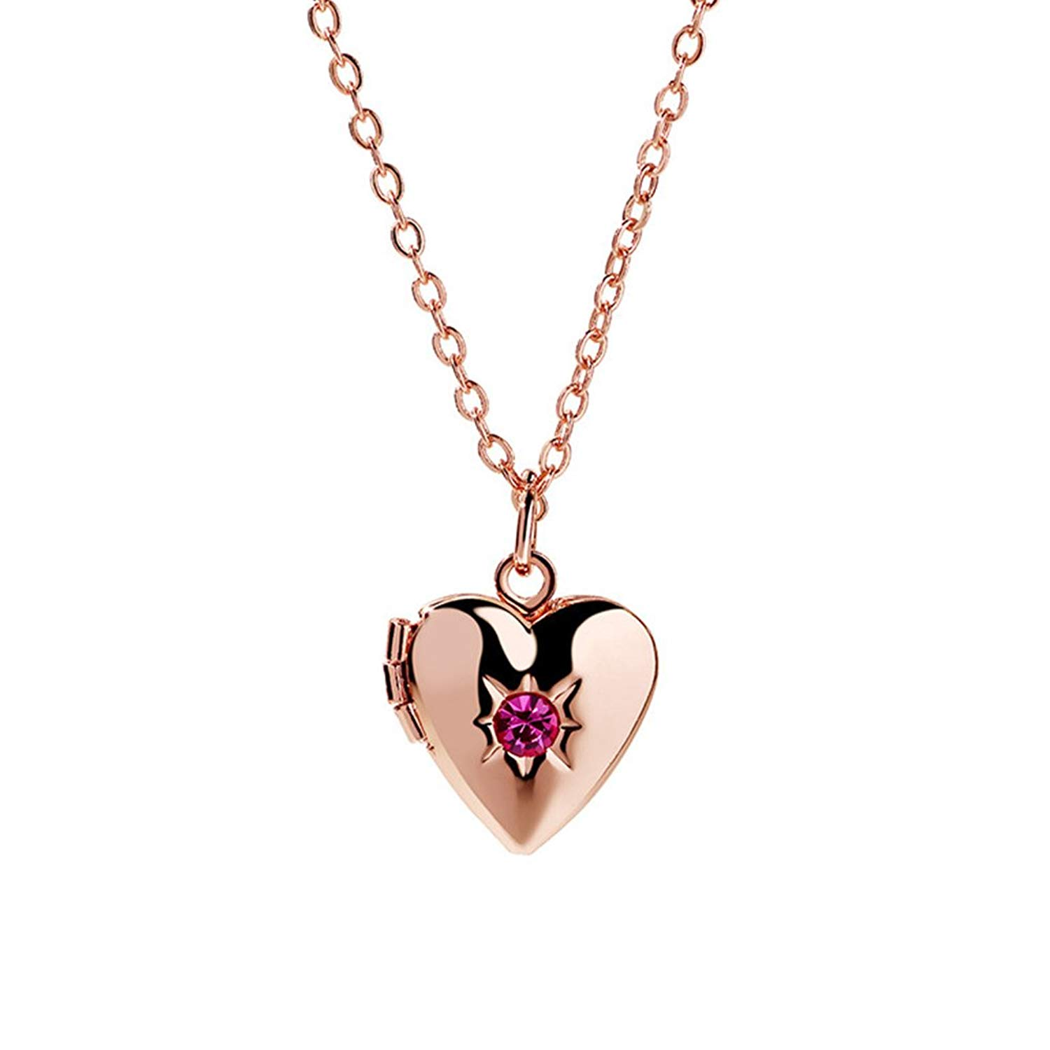 PORPI-JOJO Lockets for Women Rose Gold Tone Pink CZ,Locket Necklace that Holds Pictures Jewelry