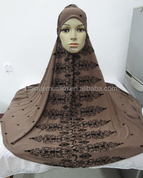 H314 latest big size muslim prayer hijab with flower print,islamic scarf,pray hijab