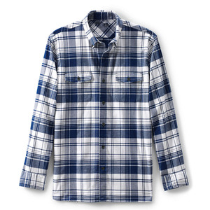 Bespoke OEM Shirt Supplier Men's Traditional Fitted White Blue Check Flannel Shirt