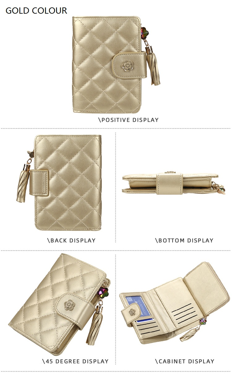 2019 baellerry new fashion Rhombic lattice pattern PU leather short style wallet with Tassels for women,lady hasp coin purse