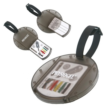 Promotional compact OEM gift blank logo print soft black strap pull open mini sewing set big round travel plastic luggage tag