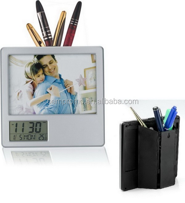 Plastic Picture Frame With Pen Holder and electric clock