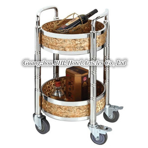 Wooden round moving trolley drink serving carts for hotel restaurant C50A