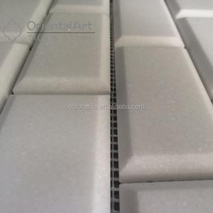 Beveled Marble White Subway Tile