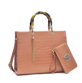 Handbag And Purse Set Versse Women Short Bamboo Handles