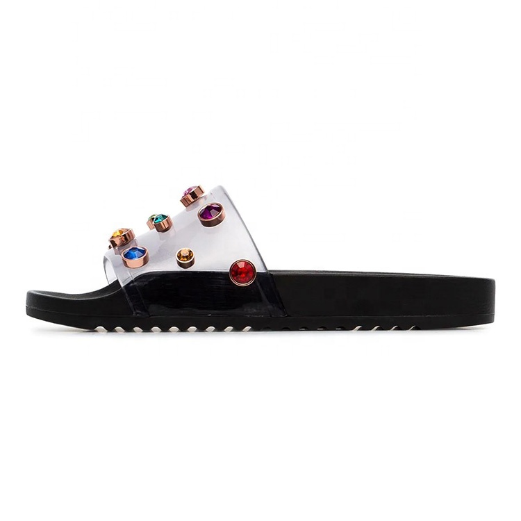 Custom women flat plate rubber <strong>slippers</strong> with rhinestone