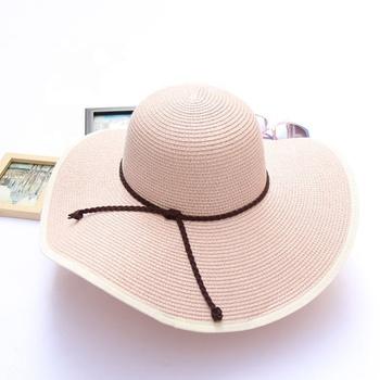 Baru Wanita Topi Pantai Wanita Topi Lebar Brim Floppy Lipat Matahari Musim  Panas Perempuan Jerami Topi a6268abc85