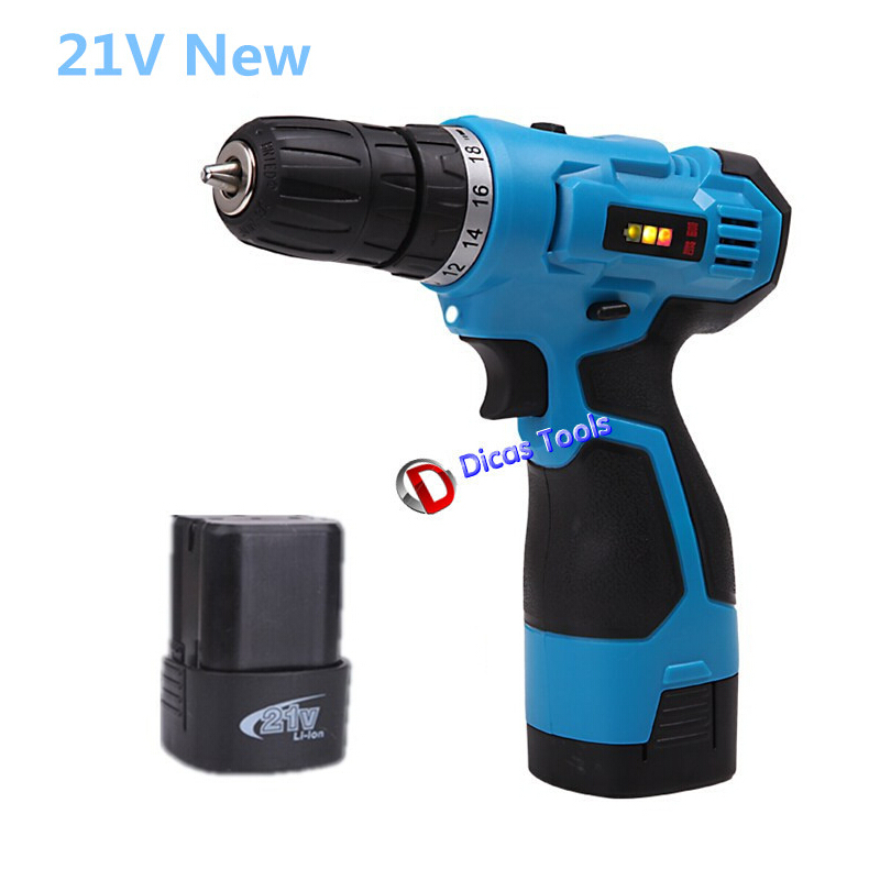21V Electric Screwdriver Battery*2 Rechargeable Cordless Drill Battery Parafusadeira Furadeira Manual Multi-function Power Tools