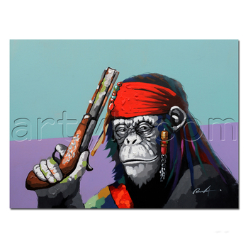 Pop Handmade Modern Decorative Pirate Wall Painting of Ape