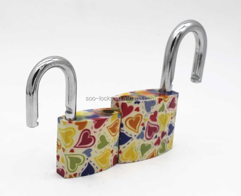 pretty and practical small luggage padlock with heart printed