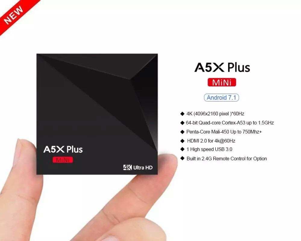 Factory directly of 4K A5X Plus android7.1 smart tv box Rockchip RK3328 4K2.4G wifi IPTV supplier 2gb 16gb