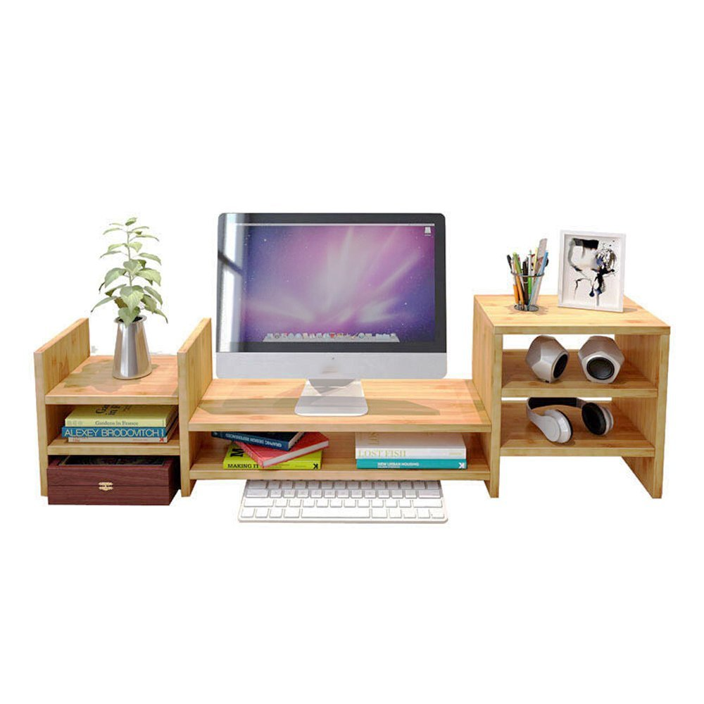 LQQGXL Storage and organization Bamboo TV screen computer monitor stand base, 2-tier desktop storage shelves/shelves (Size : L)