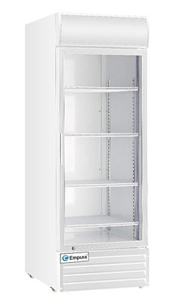 "Empura EGM-23W Single Swing Glass Door 27.6"" White Merchandiser Refrigerator with CFC free refrigerant and LED lighting, 23 cubic feet Space"
