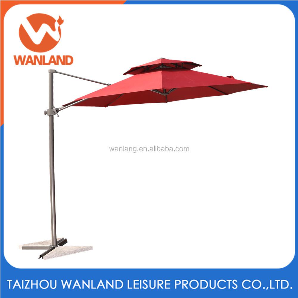 Used Starbucks Round Offset Outdoor Patio Umbrella In Red