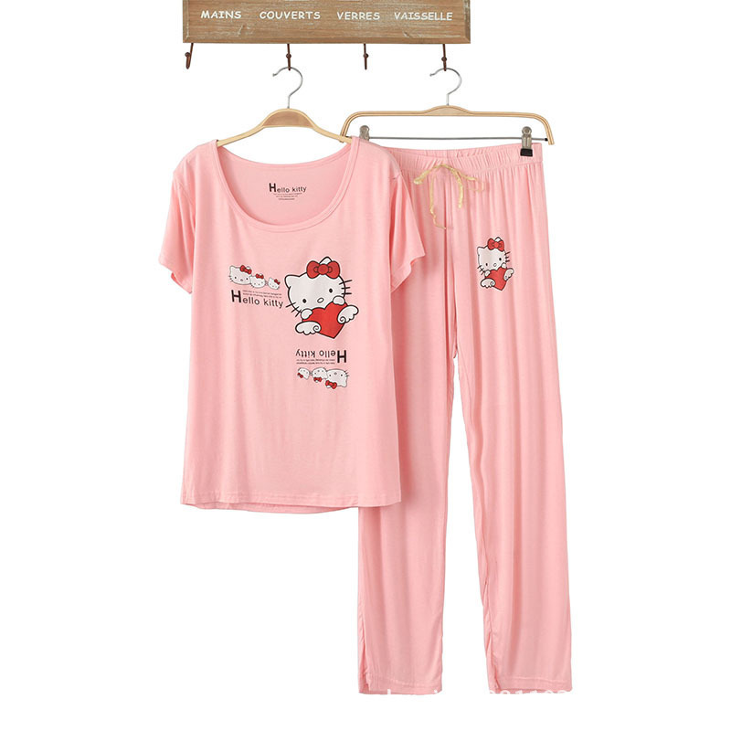 79f5ead130bd Get Quotations · Women Cute Cotton Pajamas Hello Kitty Cartoon Print Sleepwear  Sets Soft Pajamas Women Fashion Style Pajamas