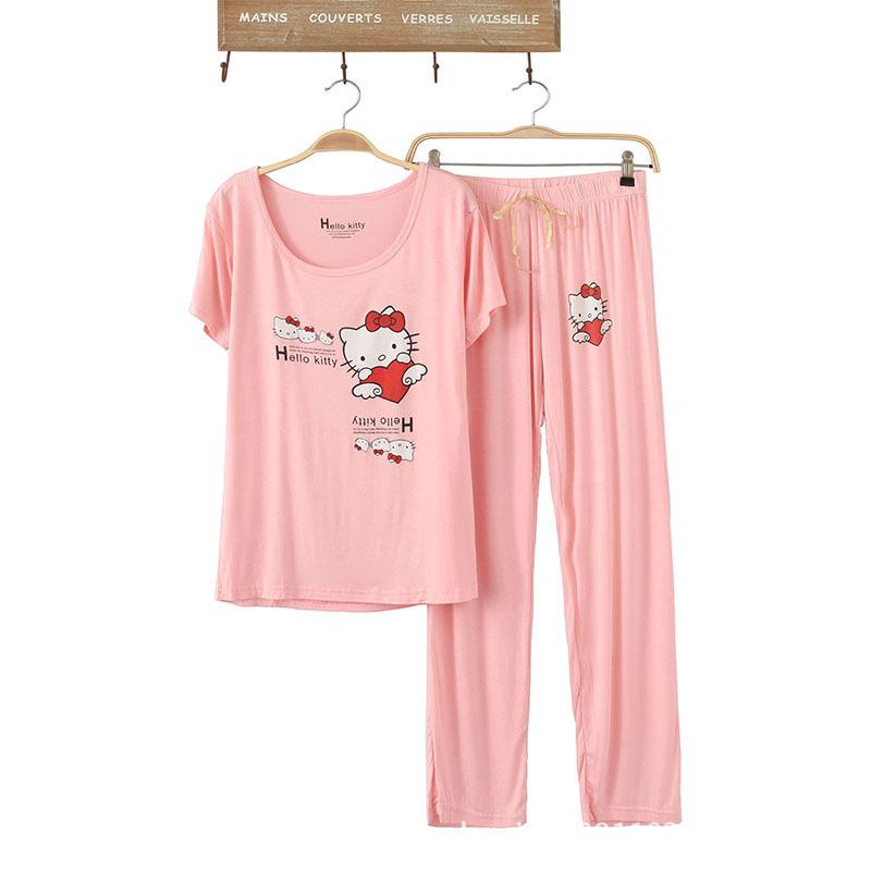 e997aa11f18b Get Quotations · Women Cute Cotton Pajamas Hello Kitty Cartoon Print Sleepwear  Sets Soft Pajamas Women Fashion Style Pajamas