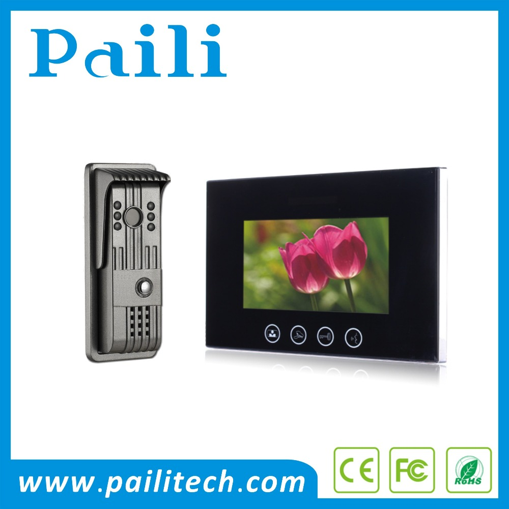 "7"" TFT Color Video Door Phone Hands Free Visual Intercom Doorbell Video Night Vision video door entry system"