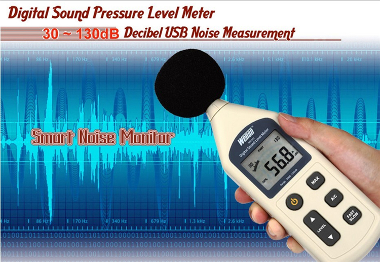 Digital Sound Level Meter Druk tester 30-130dB Decibel USB Noise Meting
