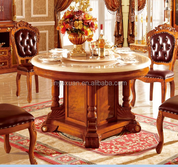 European Neo Classical Dining Table With Leather Dining Chairs T205c