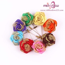 double face satin ribbon rose brooch