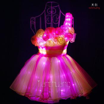 Led Light Tutu Dress Belly Event Show Skirt Girls Dance