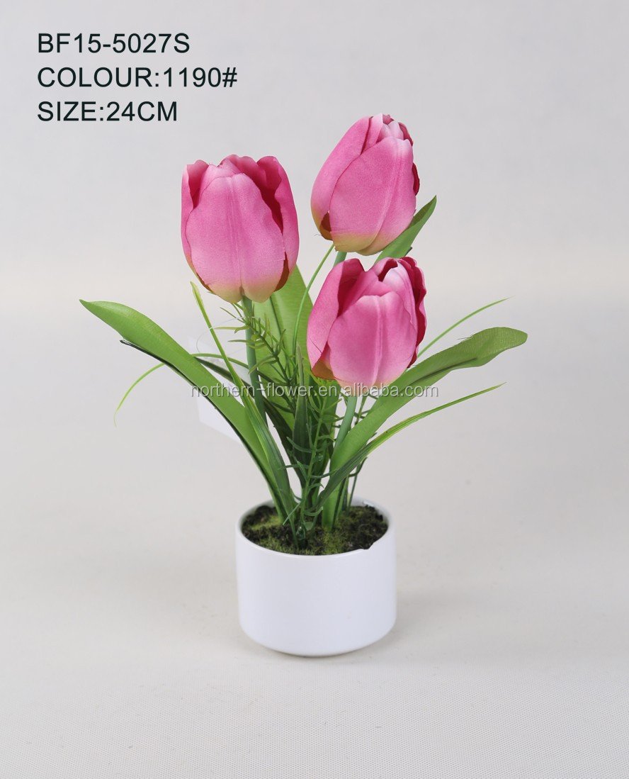 Factory price mini pink artificial tulip flowers for wedding decoration, silk fake flowers
