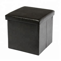 Black Synthetic Leather PU 15' Foldable Storage Ottoman