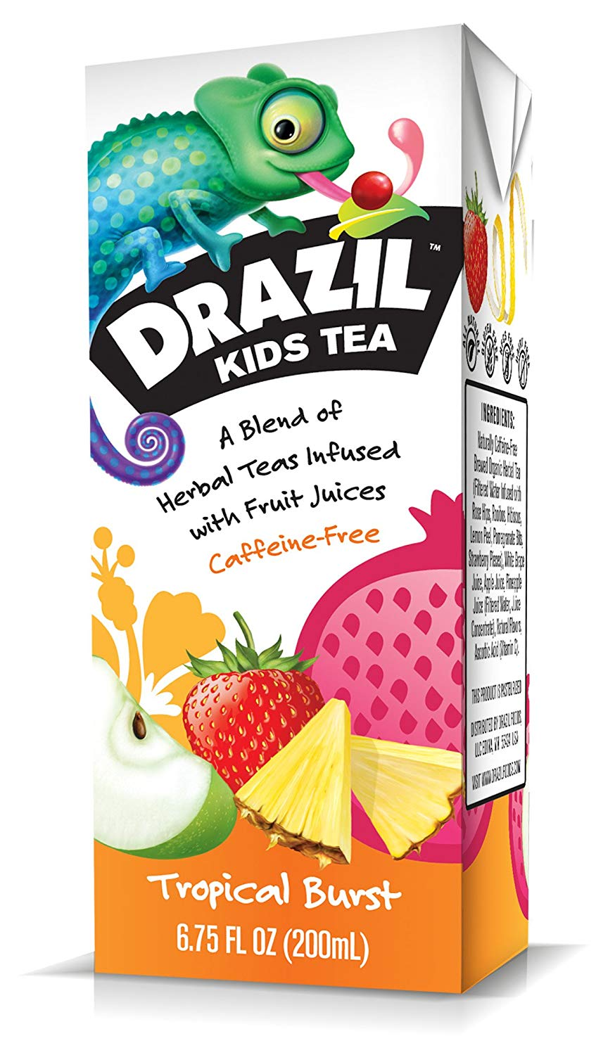 Drazil Kids Tea, Tropical Burst, 6.75 Ounce Boxes (Pack of 32), Individually Packaged Juice-Box Style Iced Herbal Tea Infused with Fruit Juices, Caffeine-Free Gluten-Free, No Added Sugar