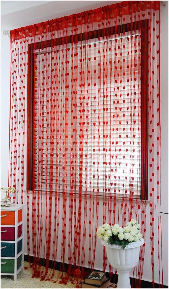 corazn rojo del amor de polister cortina de puerta cuerda cadena panel divisor separador de