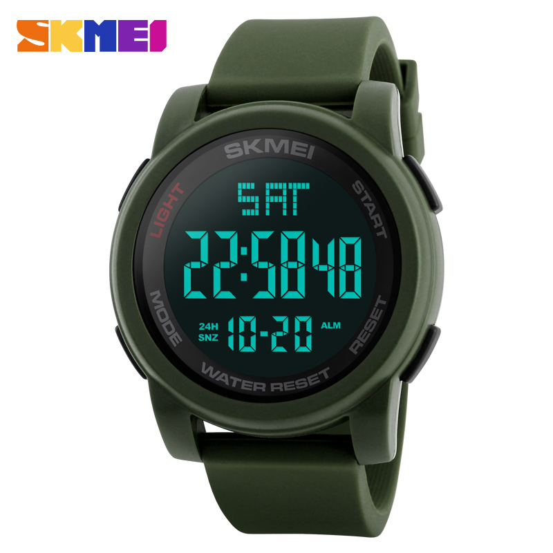 Brand Luxury Countdown Chronograph Digital Led Clock Military Silicone Strap 50m Waterproof Dive Sports Men Skmei 1257 Watch Hot
