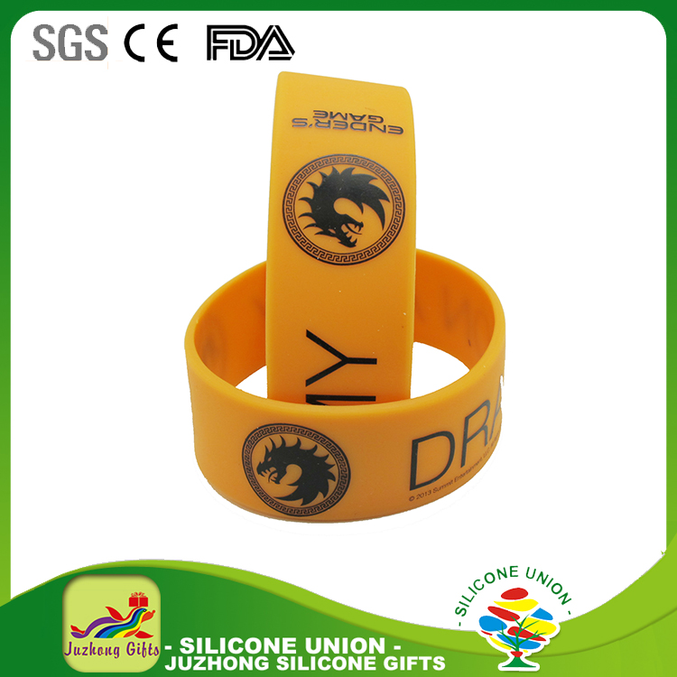 NEW! One Inch Music Silicone Rubber Wristband with CUSTOM PRINTING cheap price
