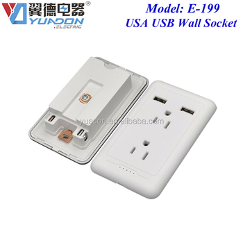 Double 2 USB Wall Socket Usa Furniture Power Outlets Receptacle For America  Canada