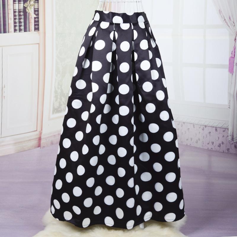 50s Black White Blue Polka Dot Skirt 100cm Muslim Long