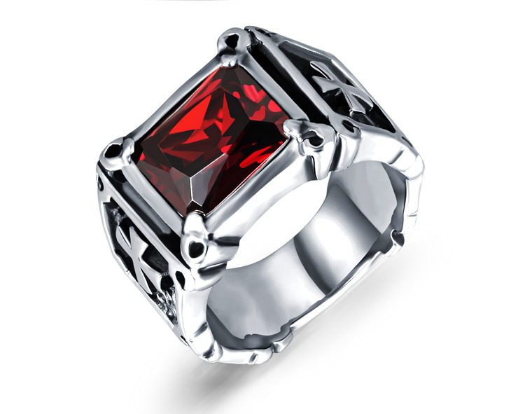 High Quality Vintage Cross Shaped <strong>Black</strong>& Red Zircon Titanium Steel Men's Ring