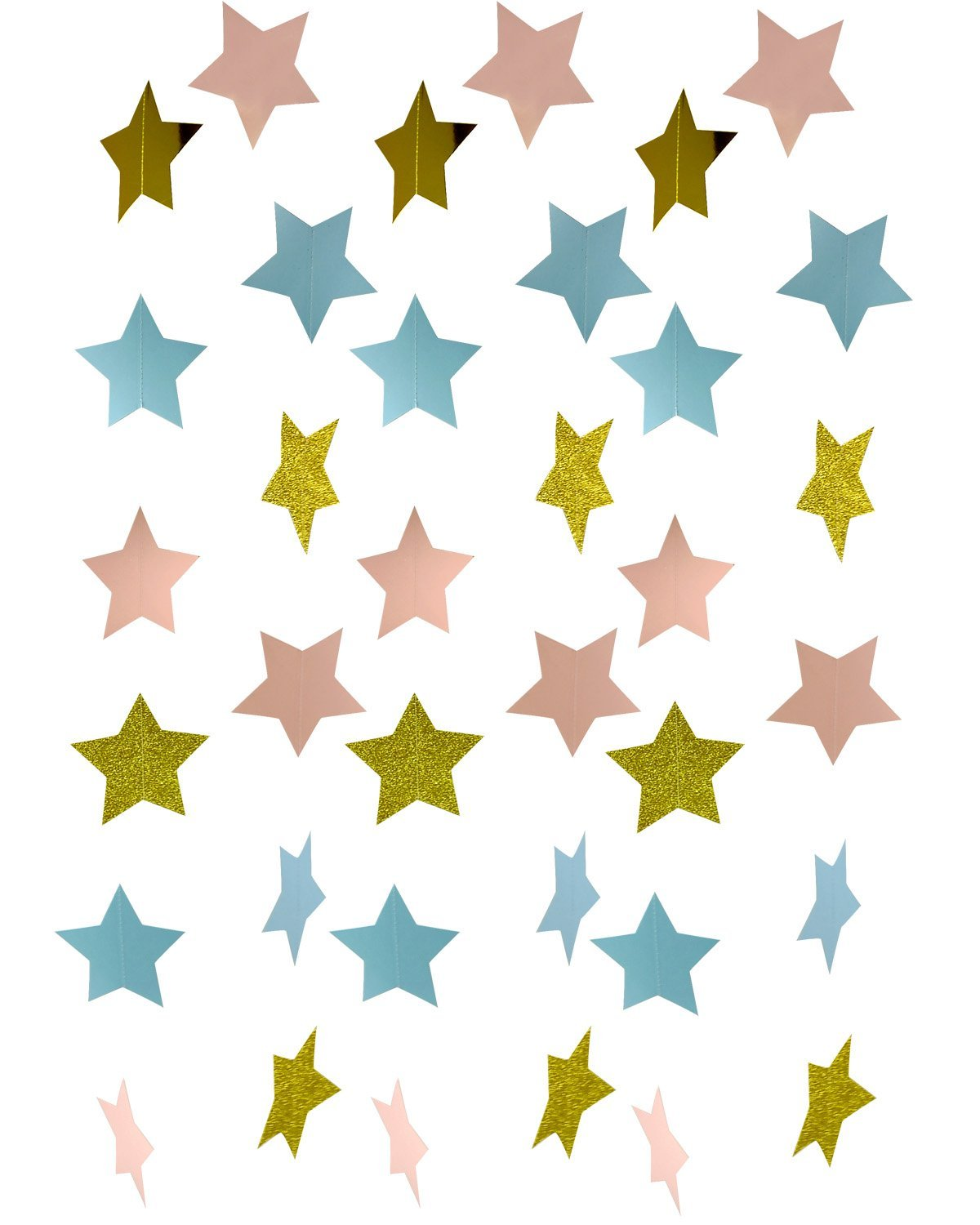 Furuix Gender Reveal Party Decorations 2pcs Twinkle, Twinkle Pink Blue Gold Paper Star Garland Star String for Baby Shower Decorations Birthday Decor/Boy or Girl Gender Reveal Party Supplies