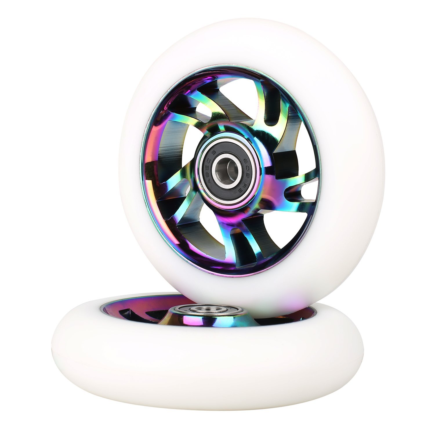Neo Chrome Kutrick Complete 2pcs 110mm Pro Stunt Scooter Replacement Wheels with ABEC-11 Bearing