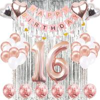 Happy Birthday Banner Rose Gold Number Balloons Supplies Sweet Sixteen16th Birthday Party Decorations