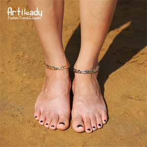 Artilady Chunky Curb Chain Jewellery Anklets for Women Summer Beach Foot Jewelry