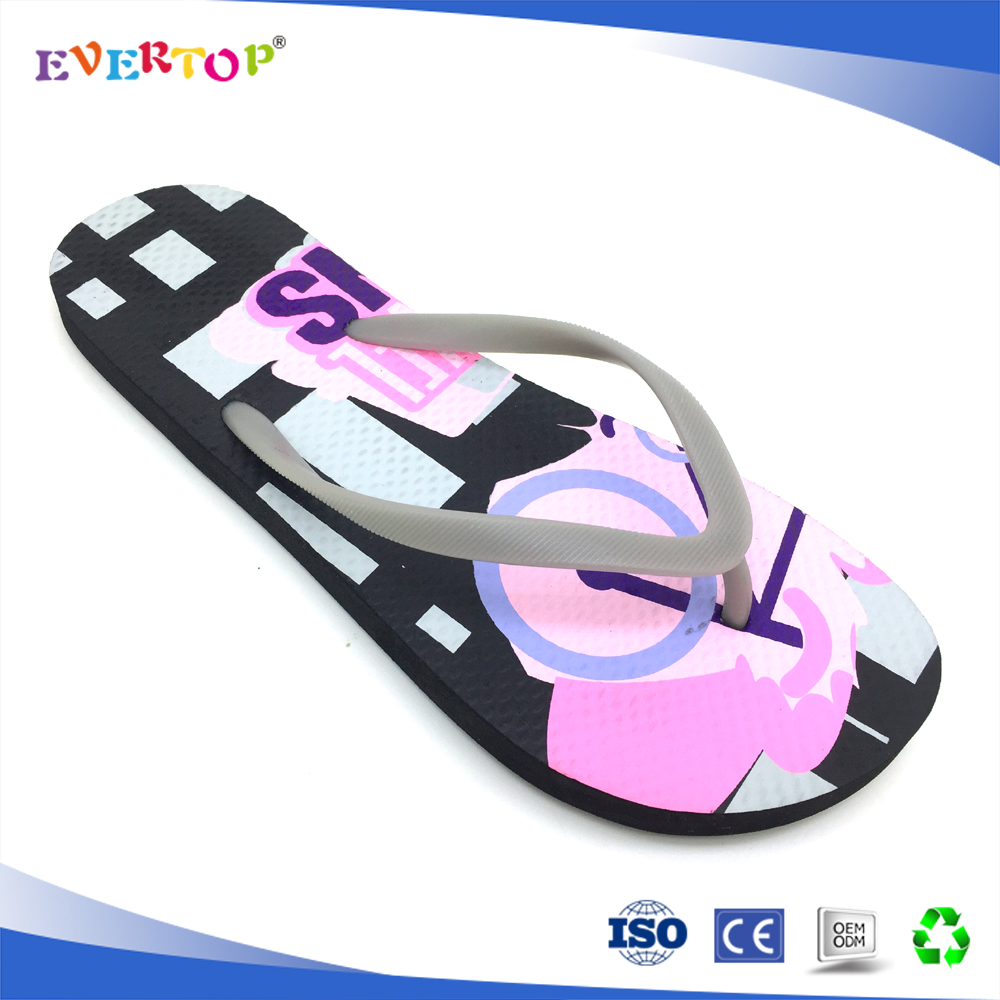 Lt grey pvc strap design with black shoes fashionable slipper for lady and girl
