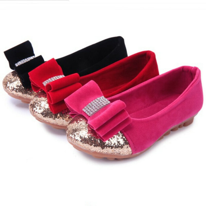 Get Quotations · 2015 Cute Bowtie Glitter Girls Leather Shoes Red Rose  Black Girls Flats shoes