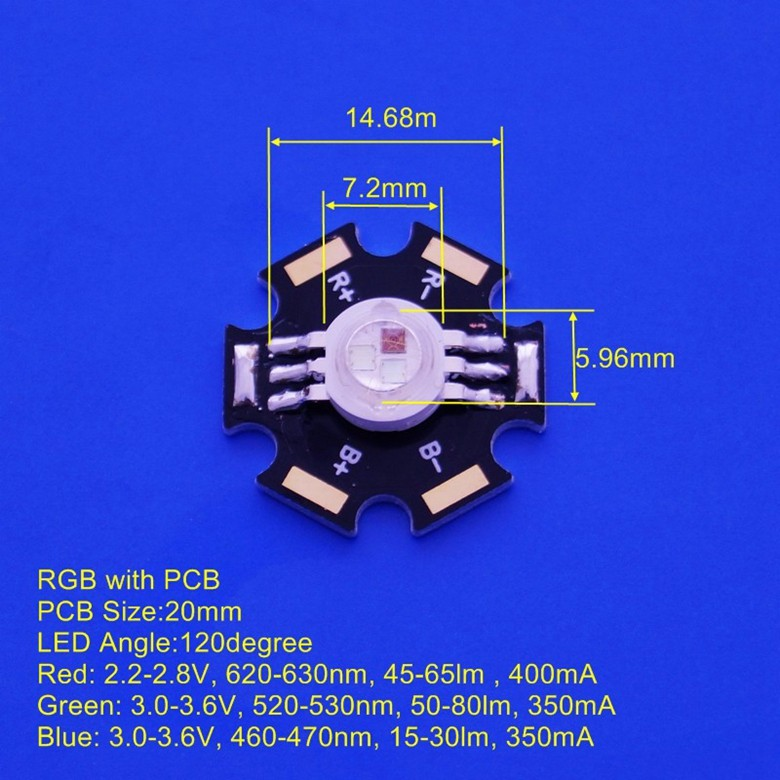 3W RGB High Power Led Diode With Star Base