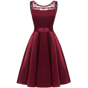 Lace Elegant Lady Knitted Boutiques 1950s Bow Backless Pleated O-Neck Vintage Women Sexy Party Gorgeous Burgundy Summer Dresses